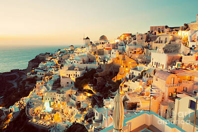 Resort Photograph - Oia Town On Santorini Island by Michal Bednarek