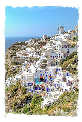 Santorini Wall Art - Painting - Oia Watercolor by Delphimages Photo Creations