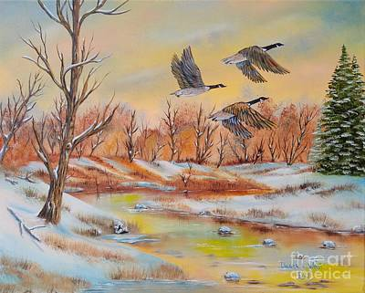 Canadian Geese Painting - Oies Canadiennes En Novembre by Duane West