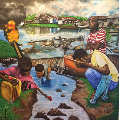 Painting - Oil- Africans' Wealth And Woe by O Yemi Tubi