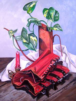 Painting - Oil Can And Corset by Laura Aceto