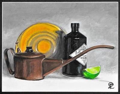 Painting - Oil Can And Gin by Therese Legere