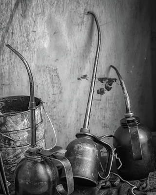 Photograph - Oil Cans In Bw by James Barber