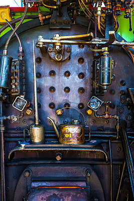 Oil Cans In Steam Engine Cab Art Print by Garry Gay