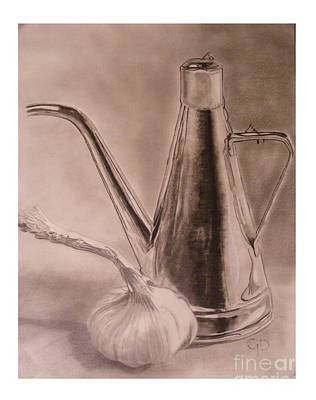 Drawing - Oil Container And Garlic by Crispin  Delgado