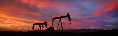 Oil Field Sunset Art Print by Greg Iger