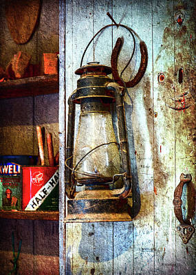 Kerosene Lamp And Horseshoe Art Print
