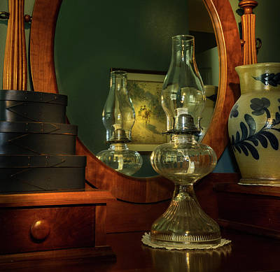 Photograph - Oil Lamp Mirror And Picture by Douglas Barnett