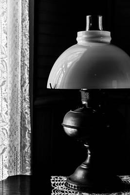 Oil Lamp On Table Art Print by Karen Hanley Colbert
