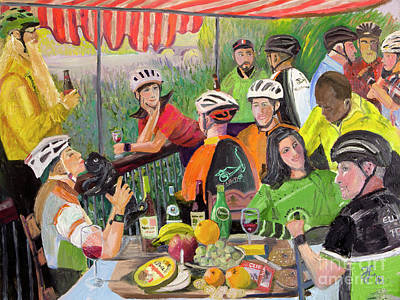 Painting - Oil- Luncheon Of The Cycling Party by Francois Lamothe