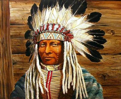 Painting - Full Head Dress by Perrys Fine Art
