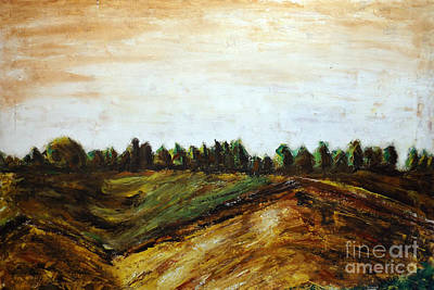 Painting - Oil On Canvas Landscape, Plain Of The Roman Countryside, Towards The Tyrrhenian Sea, Mediterranean by Alessandro Nesci