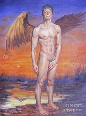 Painting - Oil Painting Angel Of Male Nude In Sunset#17-1-16 by Hongtao Huang