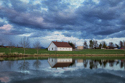 Photograph - Oil Painting Stormy Clouds Over Barn by Celine Pollard