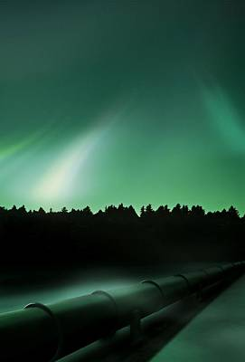 Oil Pipeline And Aurora Print by Richard Kail