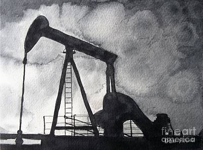 Oil Pumper Painting - Oil Jack by Don Hand