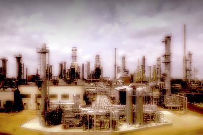 Jack Drill Digital Art - Oil Refinery #4 by Dennis Thompson