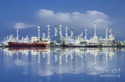 Construction Photograph - Oil Refinery Industry Plant by Setsiri Silapasuwanchai