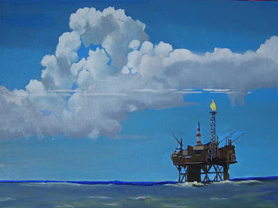 Painting - Oil Rig Near The Shetland Islands by Eric Burgess-Ray