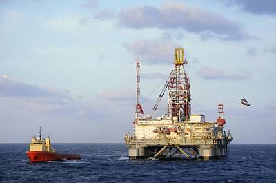 Photograph - Oil Rig With Helicopter And Support Vessel by Bradford Martin
