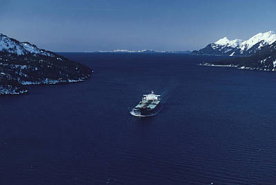 Natural Forces Photograph - Oil Tanker Passes Through Valdez by George F. Herben