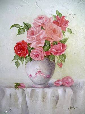 Oil Vase Rose Art Print