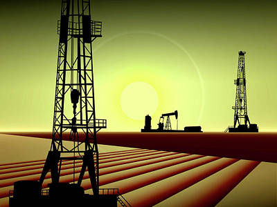 Jack Drill Digital Art - Oil Well And Oil Pump by Dennis Thompson