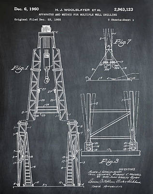 Oil Well Patent 1960 Chalk Art Print by Bill Cannon