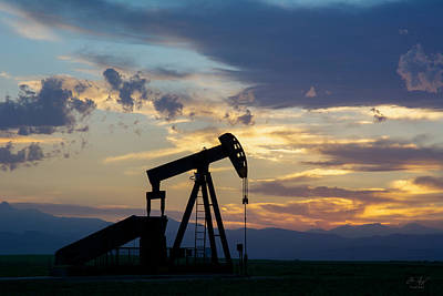 Photograph - Oil Well Pump Silhouette  by Aaron Spong
