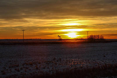 Oil Well Sunset Art Print by Christy Patino