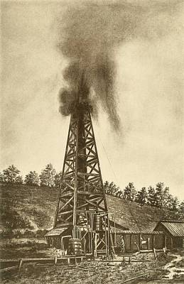 Oil Well With A Gusher In The Oil Art Print by Everett