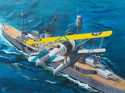 Bi-plane Painting - Oj-2 Observation Plane Usn by Gene Ritchhart