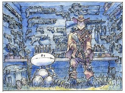 Super Hero Drawings Drawing - Ojo Negro And Buho Blanco by Caleb Colon