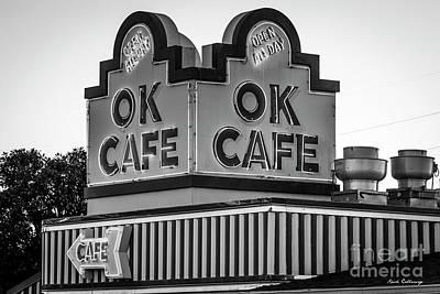 Photograph - Ok Cafe Neon 2 B W Atlanta Classic Landmark Restaurant Art by Reid Callaway