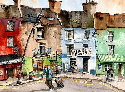 Painting - Ok Wheres The Party. Clifden, Galway. by Val Byrne