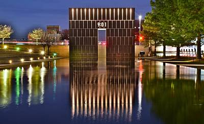 Okc Bombing Memorial Pool Art Print by Frozen in Time Fine Art Photography