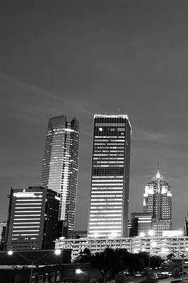 Okc Downtown Skyline Vertical - Black And White Art Print by Gregory Ballos