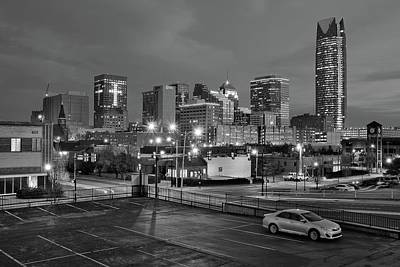 Photograph - Okc Grayscale Night by Frozen in Time Fine Art Photography
