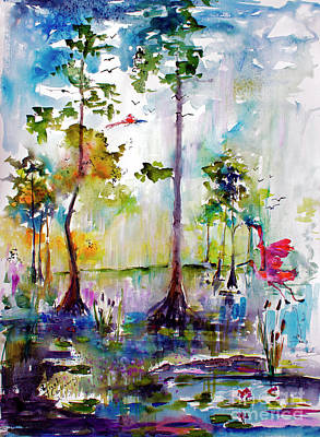 Cypress Swamp Painting - Okefenokee Wild Free And Peaceful by Ginette Callaway