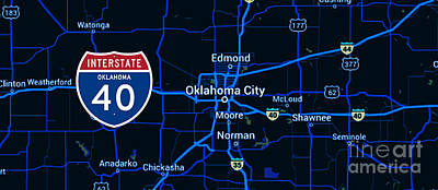 Oklahoma City Blue Old Map, Interstate 40 Art Print by Pablo Franchi