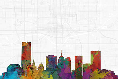 Fashion Paintings - Oklahoma City Cityscape and Streetmap Skyline by Jurq Studio