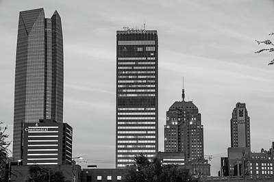 Photograph - Oklahoma City Okc Black And White Downtown City Skyline by Gregory Ballos