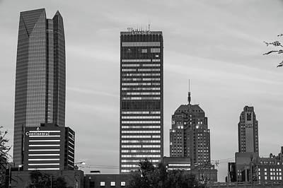Photograph - Oklahoma City Okc Black And White Downtown City Skyline by Gregory Ballos