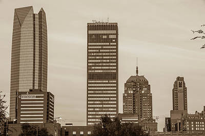 Photograph - Oklahoma City Okc Sepia Downtown City Skyline by Gregory Ballos