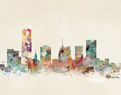 Painting - Oklahoma City Oklahoma Skyline by Bleu Bri