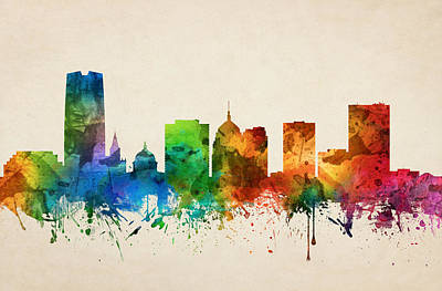 Oklahoma Painting - Oklahoma City Skyline 05 by Aged Pixel
