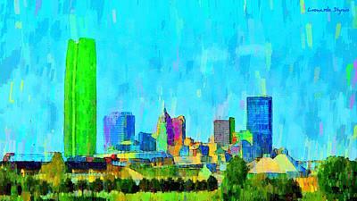 Bridge Digital Art - Oklahoma City Skyline 100 - Da by Leonardo Digenio