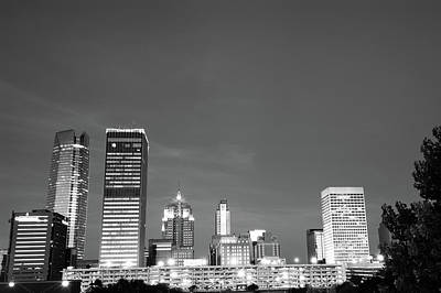 Okc Photograph - Oklahoma City Skyline - Downtown Okc - Black And White by Gregory Ballos