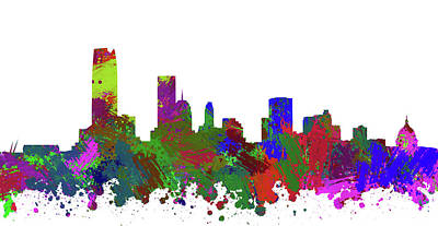 Abstract Skyline Digital Art Rights Managed Images - Oklahoma City Skyline Painted Royalty-Free Image by Ricky Barnard