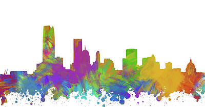 Abstract Skyline Digital Art Rights Managed Images - Oklahoma City Skyline Silhouette II Royalty-Free Image by Ricky Barnard